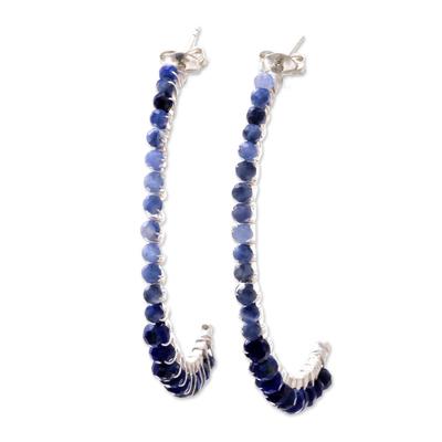 Lapis lazuli and tanzanite half-hoop earrings, 'Gleaming Skies' - Lapis Lazuli and Tanzanite Half-Hoop Earrings from Thailand