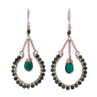 Rose gold plated quartz dangle earrings, 'Forest Grandeur' - 14k Rose Gold Plated Quartz Dangle Earrings from Thailand