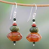 Multi-gemstone beaded dangle earrings, 'Warm Summer' - Handmade Carnelian Jasper and Quartz Dangle Earrings