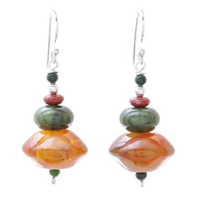 Multi-gemstone beaded dangle earrings, 'Warm Summer' - Handmade Carnelian Jasper and Quartz Dangle Earrings