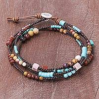 Jasper and leather beaded wrap bracelet, 'Mountain Charm' - Jasper Dyed Calcite and Leather Wrap Bracelet from Thailand