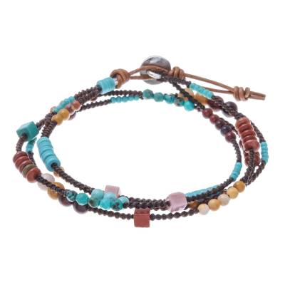 Jasper Dyed Calcite and Leather Wrap Bracelet from Thailand