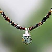 Jasper beaded pendant necklace, 'Morning Dewdrop' - Jasper and Reconstituted Turquoise Pendant Necklace
