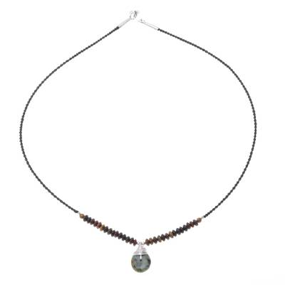 Jasper and Reconstituted Turquoise Pendant Necklace