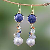 Gold accented multi-gemstone dangle earrings, 'Beautiful Composition' - Gold Accented Multi-Gemstone Dangle Earrings from Thailand