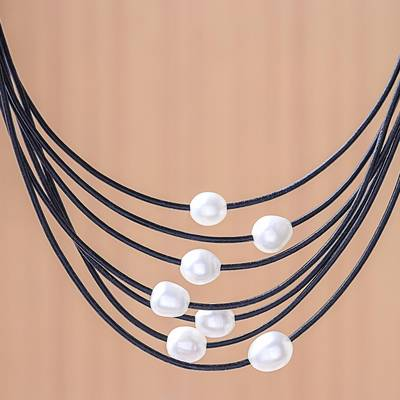 Cultured pearl pendant necklace, 'Luminous Pebbles in Black' - Cultured Pearl Pendant Necklace on Black Cord from Thailand