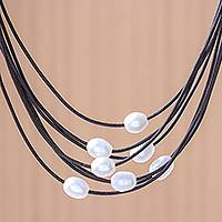 Cultured pearl pendant necklace, 'Luminous Pebbles in Brown' - Cultured Pearl Pendant Necklace on Brown Cord from Thailand