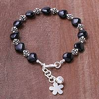 Onyx beaded bracelet, 'Black Hearts'