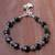 Onyx beaded bracelet, 'Black Hearts' - Heart Pattern Onyx Beaded Bracelet from Thailand (image 2b) thumbail