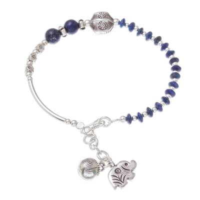 Lapis lazuli beaded bracelet, 'Karen Blue' - Lapis Lazuli Beaded Bracelet from Thailand