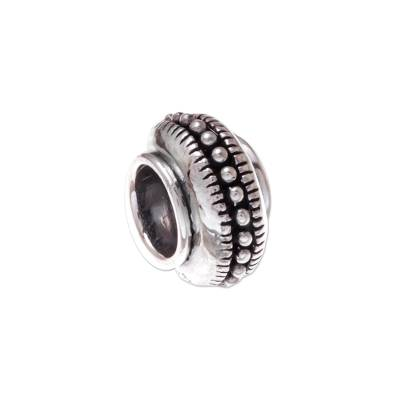 Sterling silver bracelet bead, 'Glamorous Beauty' - Dot Pattern Sterling Silver Bracelet Bead from Thailand