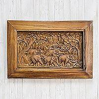 Teak wood relief panel, 'Walk of Life' - Nature-Themed Teak Wood Relief Panel from Thailand