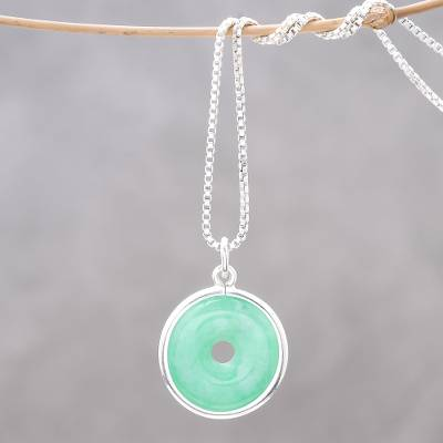 Jade pendant necklace, 'Green Hoop' - Circular Jade Pendant Necklace Crafted in Thailand