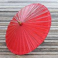 Cotton parasol, 'Simple Shade in Crimson' - Cotton and Bamboo Parasol in Solid Crimson from Thailand