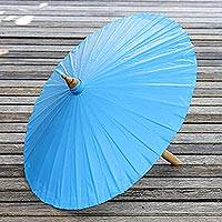 Cotton parasol, 'Simple Shade in Azure' - Cotton and Bamboo Parasol in Solid Azure from Thailand