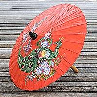 Paper parasol, 'Sunny Peacock in Flame' - Peacock Motif Paper Parasol in Flame from Thailand