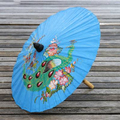 Paper parasol, 'Sunny Peacock in Azure' - Peacock Motif Paper Parasol in Azure from Thailand