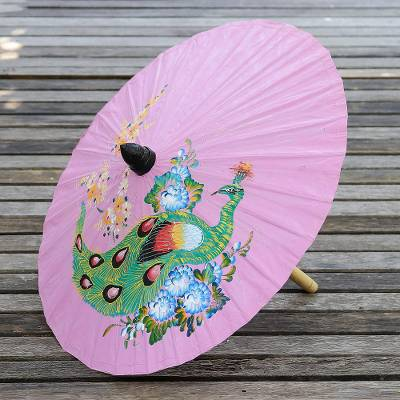 Paper parasol, 'Sunny Peacock in Carnation' - Peacock-Themed Paper Parasol in Carnation from Thailand