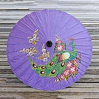 Paper parasol, 'Sunny Peacock in Violet' - Peacock Motif Paper Parasol in Violet from Thailand