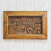 Teak wood relief panel, 'Stunning Nature' - Elephant-Themed Teak Wood Relief Panel from Thailand
