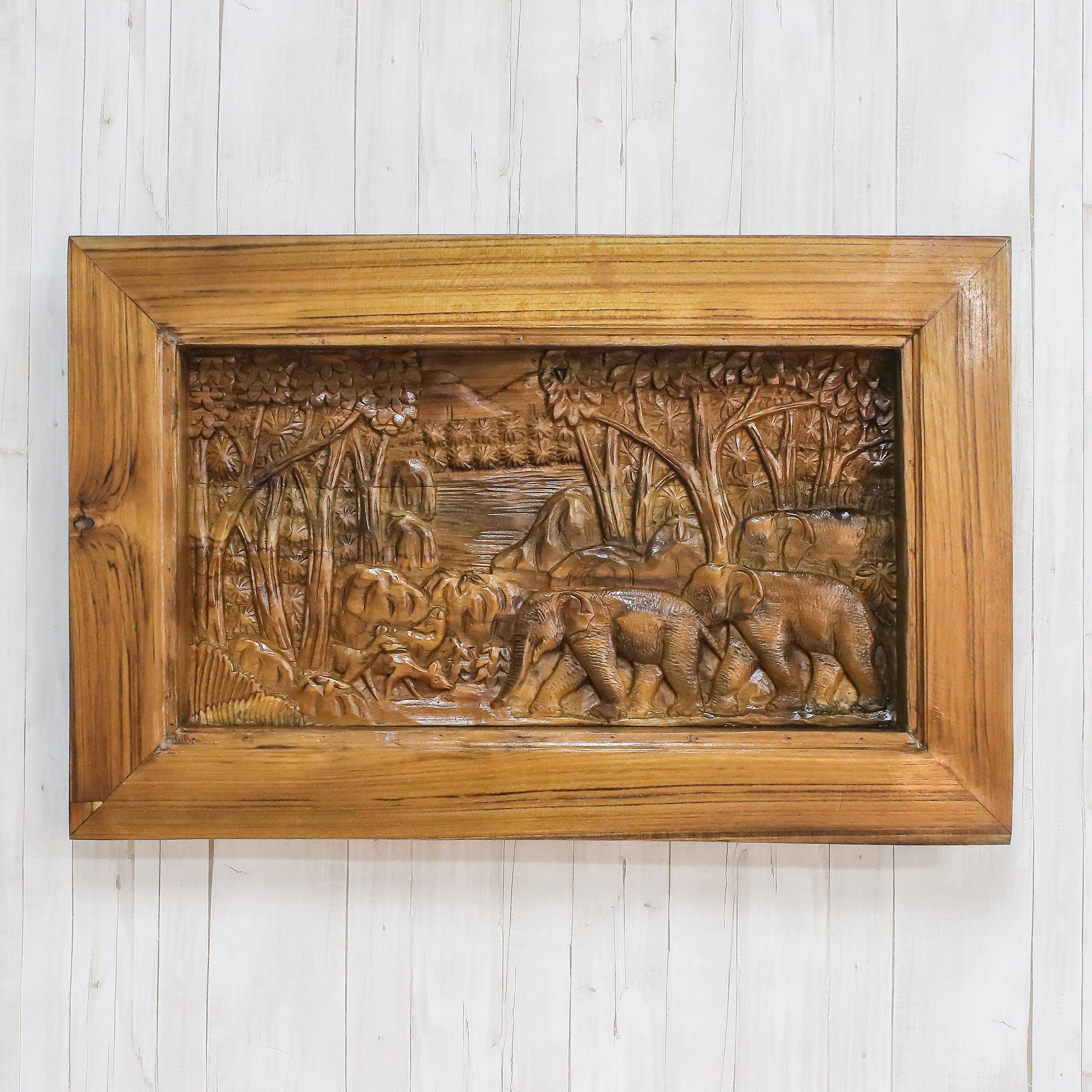 Elephant themed teakwood relief panel from thailand stunning