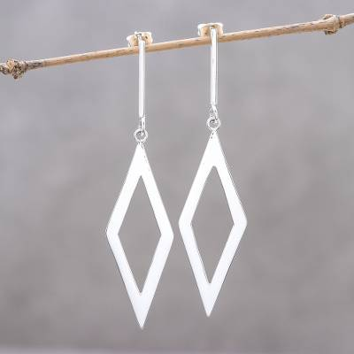 Sterling silver dangle earrings, 'Rhombus Gleam' - Sterling Silver Rhombus Dangle Earrings from Thailand