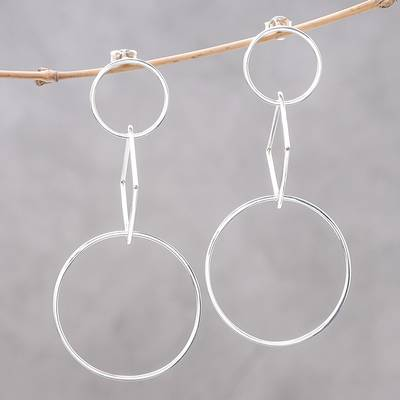 Sterling silver dangle earrings, 'Love Geometry' - Geometric Sterling Silver Dangle Earrings from Thailand