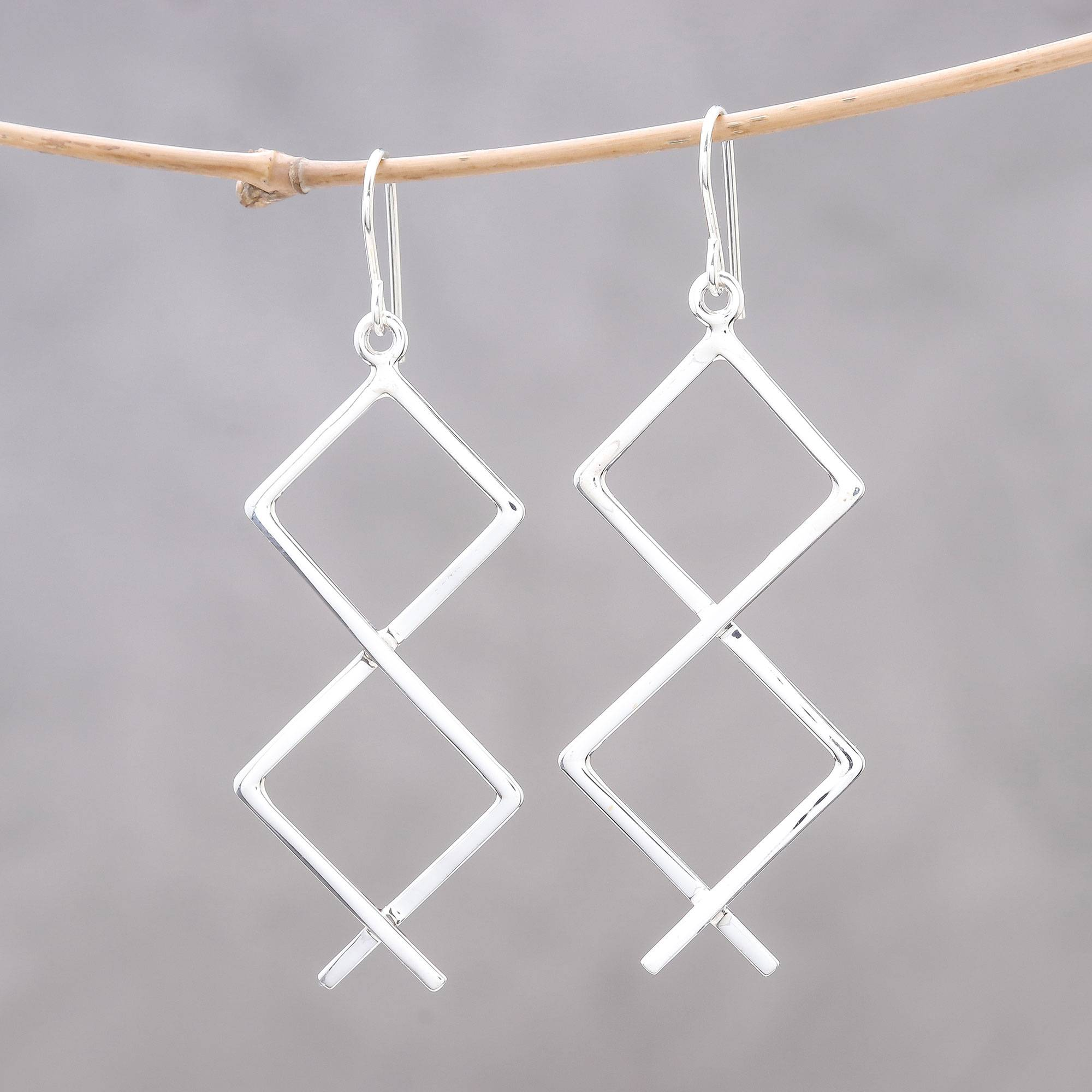 60f56e090 Sterling Silver Zigzag Dangle Earrings from Thailand,