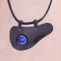 Lapis lazuli and leather pendant necklace, 'Beautiful Avocado' - Handmade Lapis Lazuli Pendant Necklace from Thailand