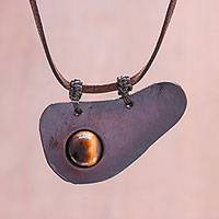 Tiger's eye and leather pendant necklace, 'Beautiful Avocado' - Handmade Tiger's Eye and Leather Pendant Necklace