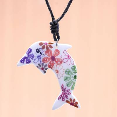 Ceramic pendant necklace, 'Floral Dolphin' - Ceramic Dolphin Necklace with Colorful Painted Floral Motifs