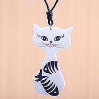 Ceramic pendant necklace, 'Content Cat' - Ceramic Cat Pendant Necklace with Painted Fish Motifs