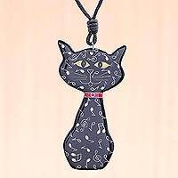 Ceramic pendant necklace, 'Musical Cat' - Ceramic Cat Pendant Necklace with Painted Music Motifs