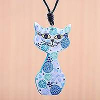 Ceramic pendant necklace, 'Spring Cat in Blue' - Ceramic Cat Pendant Necklace with Blue Painted Floral Motifs