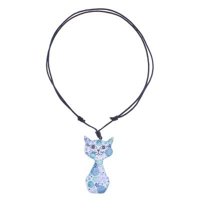 Ceramic Cat Pendant Necklace with Blue Painted Floral Motifs