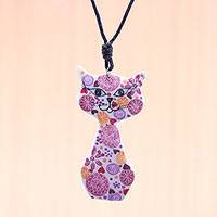 Ceramic pendant necklace, 'Spring Cat in Pink' - Ceramic Cat Pendant Necklace with Pink Painted Floral Motifs