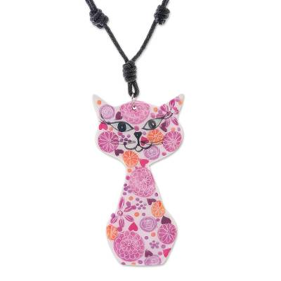 Ceramic Cat Pendant Necklace with Pink Painted Floral Motifs