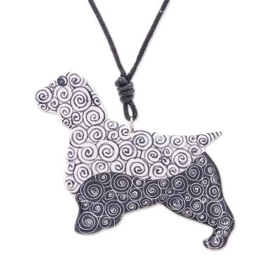 Ceramic Dog Pendant Necklace with Painted Spiral Motifs