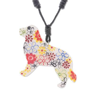 Ceramic Dog Pendant Necklace with Painted Floral Motifs