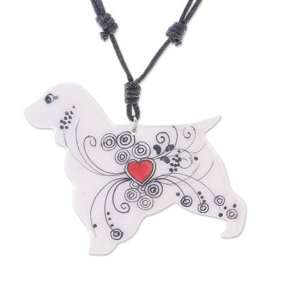 Ceramic Dog Pendant Necklace with a Painted Heart Motif