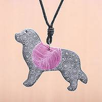 Ceramic pendant necklace, 'Cosmic Dog' - Ceramic Dog Pendant Necklace with Purple Painted Motifs