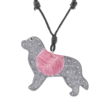 Ceramic Dog Pendant Necklace with Purple Painted Motifs