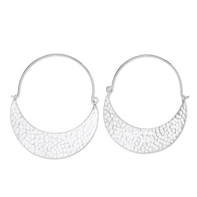 Hammered Karen Silver Hoop Earrings from Thailand