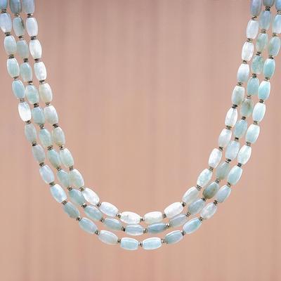 792315f11 Jade beaded strand necklace, 'Graceful Palace' - Jade and Hematite Beaded  Strand Necklace
