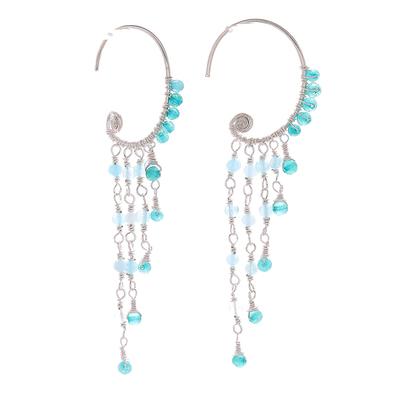 Quartz waterfall earrings, 'Crescent Waterfall' - Blue Quartz Crescent Waterfall Earrings from Thailand