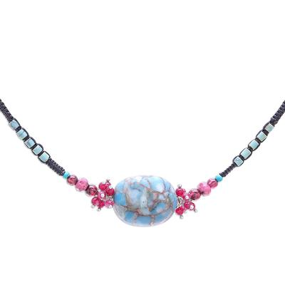 Multi-gemstone beaded pendant necklace, 'Cosmic Combination' - Multi-Gemstone Beaded Pendant Necklace from Thailand