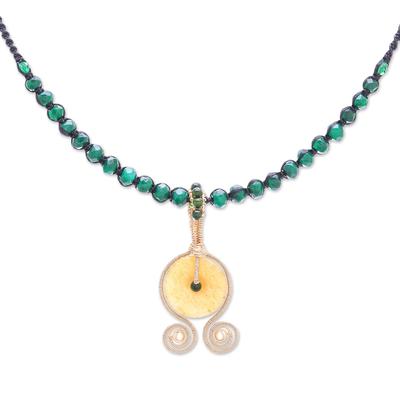 Quartz beaded pendant necklace, 'Sunset Coils' - Quartz Beaded Pendant Necklace from Thailand