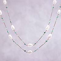 Multi-gemstone long station necklace, 'Delightful Love' - Multi-Gemstone Long Station Necklace from Thailand