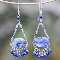 Lapis lazuli beaded chandelier earrings, 'Lovely Rain'