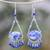 Lapis lazuli beaded chandelier earrings, 'Lovely Rain' - Lapis Lazuli Beaded Chandelier Earrings from Thailand (image 2) thumbail